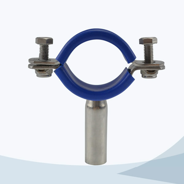 stainless steel sanitary TH6 round pipe holder with blue sleeve
